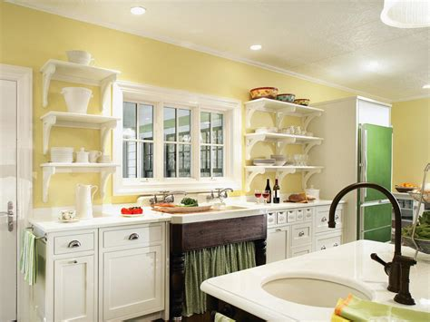 kitchens painted yellow painted kitchen shelves pictures ideas tips from hgtv