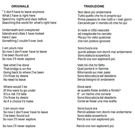 testi di canzoni in inglese bellissima canzone in spagnolo
