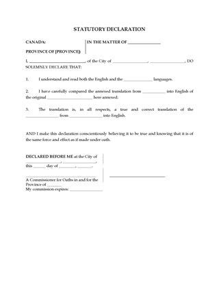 Stat Deck Form by Canada Statutory Declaration For Visually Impaired Person