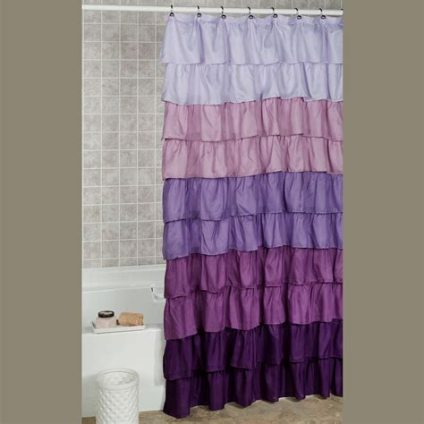 ruffle shower curtains gypsy chic shabby ruffle shower curtain lavender purple