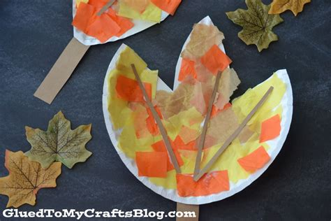 Paper Plate Fall Crafts - paper plate leaf kid craft