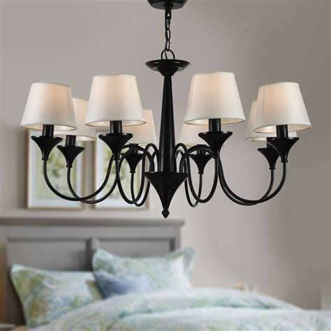 8 Light Black Wrought Iron Chandelier With Cloth Shades Wrought Iron Chandeliers With Shades