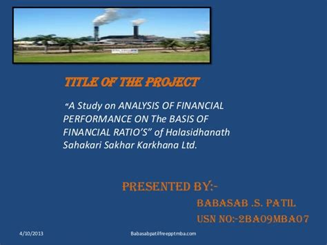 Project Management Ppt For Mba by Ratio Analysis Project Ppt Of Shsskl Nipani Mba Finance