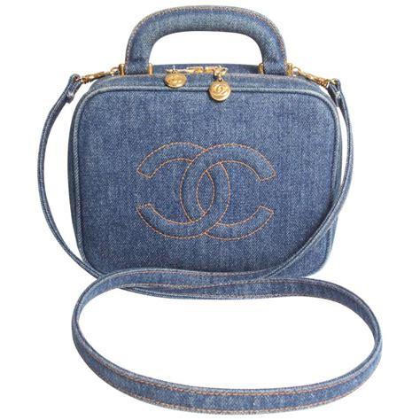 chanel vanity bag denim vintage blue 1996 at 1stdibs