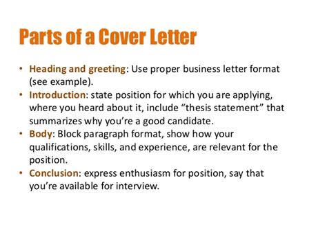 components of a cover letter creating resumes and cover letters