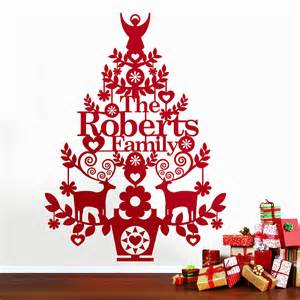personalised christmas tree wall decal by ink pudding christmas tree wall sticker wallstickerdeal com