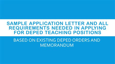 Letter Of Intent Deped Bulletin Sle Application Letter And All Requirements Needed In Applying For Deped Teaching