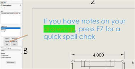 solidworks spell check uses microsoft word dictionary f7