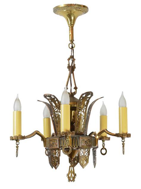 Junkyard Chandelier Brass Deco 5 Light Chandelier Architectural Antiques