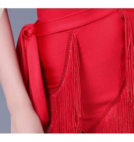 Tassel Blouse Redblack 772885 s tassel black dress sets top bodysuit and skirt