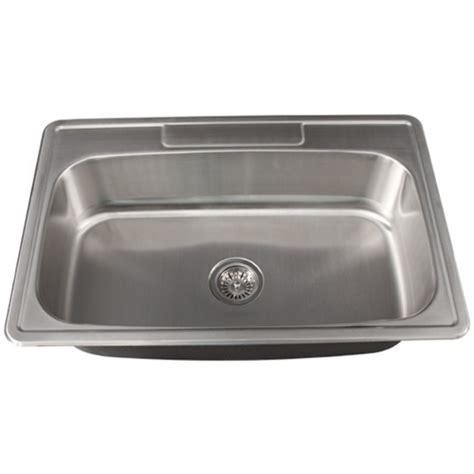 Kitchen Sinks Overmount Ticor S994 Overmount Stainless Steel Single Bowl Kitchen Sink