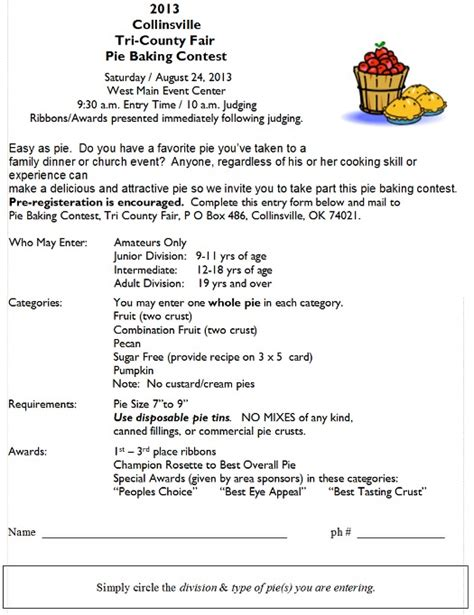 contest sheet pie baking contest judging sheet pictures to pin on