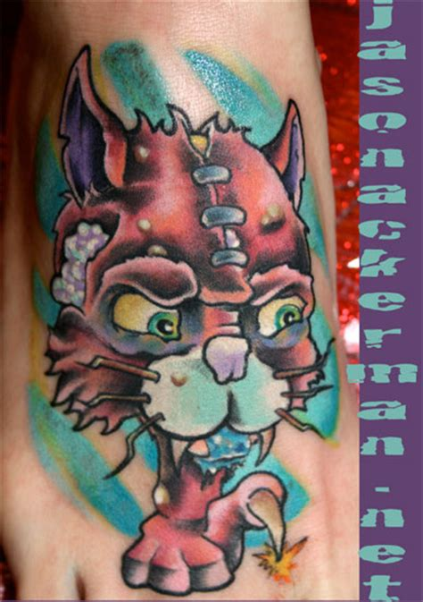 tattoo new school cat jason ackerman severed cat head foot tattoo