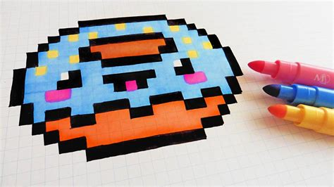 C Drawing Pixels by Handmade Pixel How To Draw Kawaii Donut Pixelart