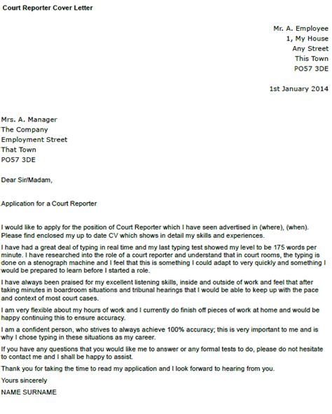 Court Administrator Cover Letter by Court Reporter Cover Letter Exle Icover Org Uk