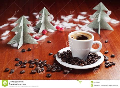 cafe natale cup of coffee and tree stock image image of