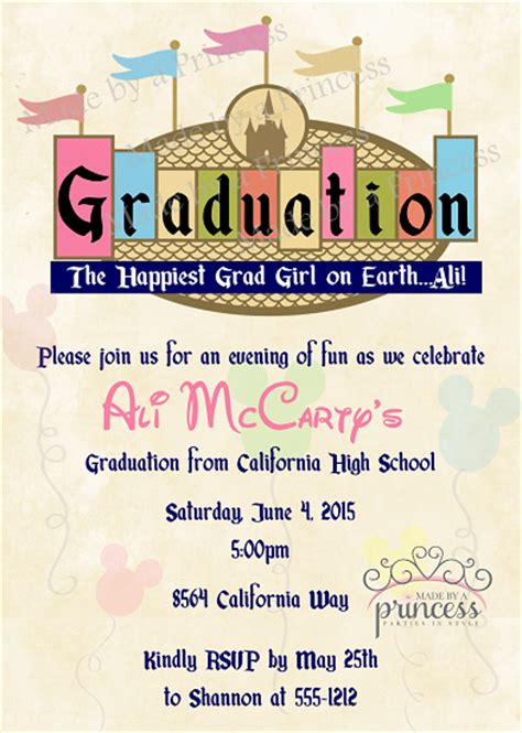 printable invitation to disney world vintage disney graduation printable invitation
