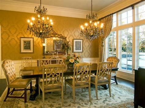 formal yellow victorian dining room  double chandelier