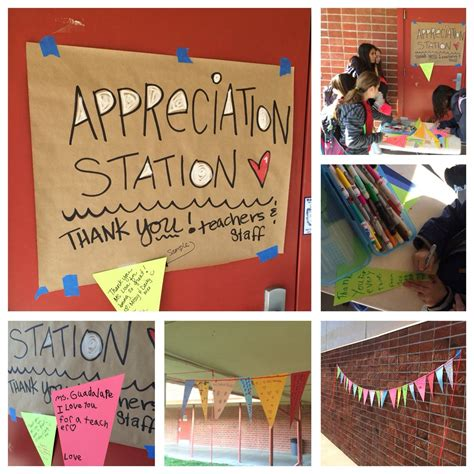 pto appreciation station where students write a thank u note on a of a pennant