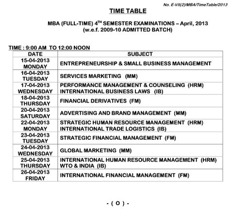 Au Mba 1st Sem Results by Andhra Mba Fourth Semester Time Table 2013