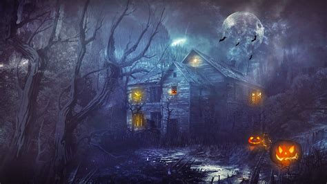 hd wallpaper for pc ghost halloween scary horror nights scarecrow pumpkin haunted