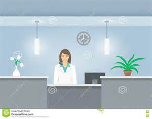 of animation front desk receptionist in coat at reception desk in