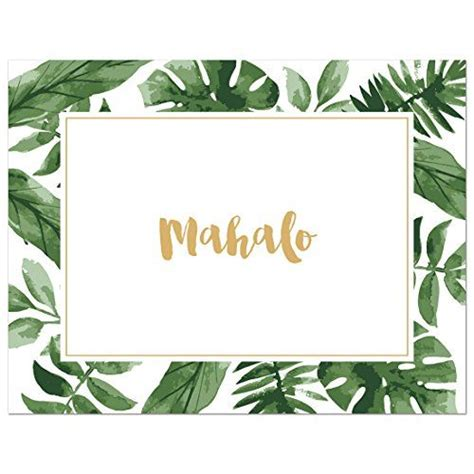 mahalo card template 50 cnt watercolor palm leaves hawaiian mahalo thank you c