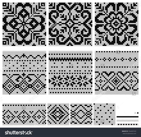 norwegian pattern vector set norwegian star knitting patterns vector stock vector