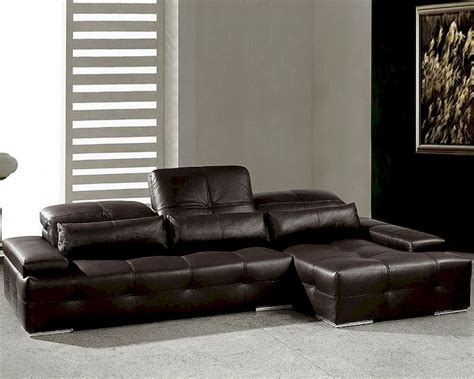 modern chocolate tufted leather sectional sofa set