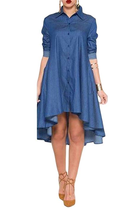 Wst 10701 Denim Shirt Dress 1 denim collared shirt sleeved midi dress high low stage ebay