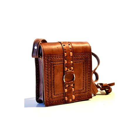 Handcrafted Leather Handbags - handcrafted leather messenger bag with leather stitches