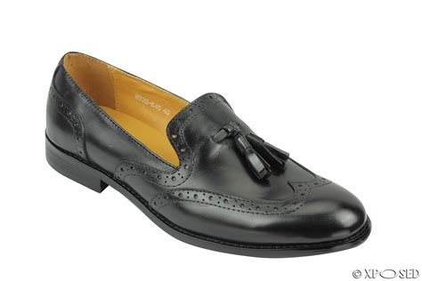 mens 1920s vintage real leather tassel loafers slip on