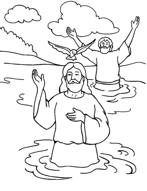 coloring page of john baptizing jesus welcoming holy spirit in baptism of jesus coloring pages