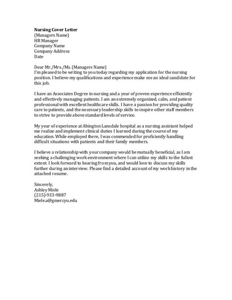 Cover Letter Address Ms Nursing Cover Letter