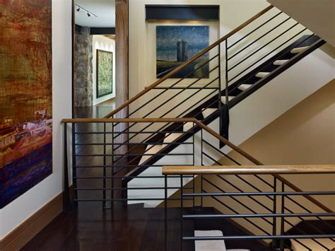 Mid Century Modern Kitchen Remodel Ideas indoor stair railing staircase rustic with white carpet
