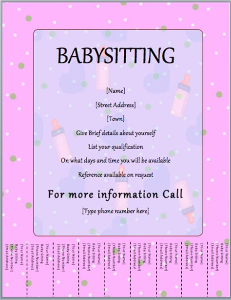 babysitting template flyer template tear format template