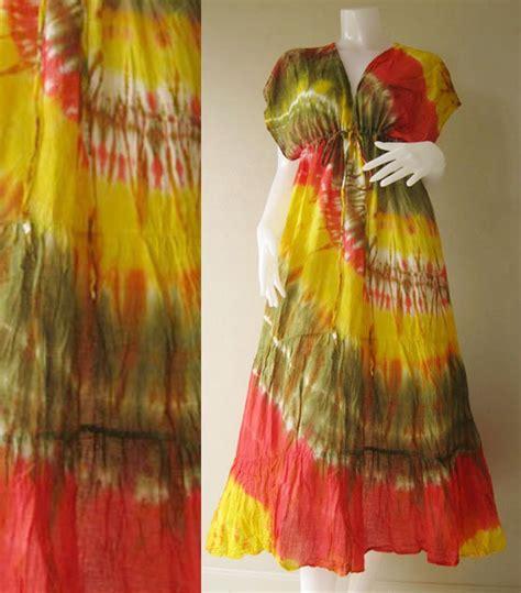 Dress T17 new japanese shibori hippie tie dye cotton maxi kimono dress s l t17