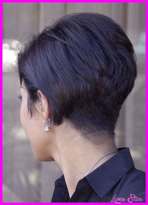 short haircuts for fine hair front and back back view of short hairstyles stacked livesstar com