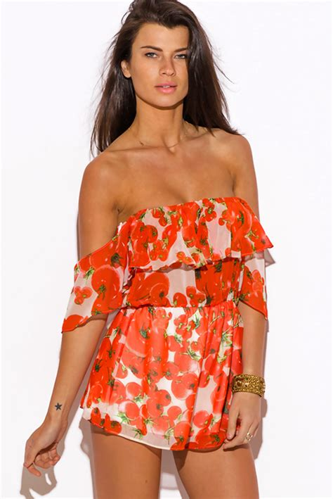 Summer Dress Pantai Sundress Jumpsuit On Romper Orange Leaf shop wholesale womens orange tomato print chiffon ruffle the shoulder boho romper