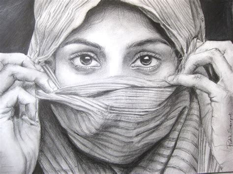 I Pencil Sketches by Sketch Of An Indian With Covered Desipainters