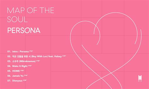 btss map   soul persona tracklist  sparking
