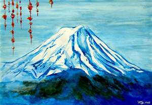 Island Shower Curtain Fuji Mountain Painting By Daniel Janda