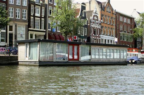 het huisboot van amsterdam stock afbeelding afbeelding - Huis Boot Amsterdam