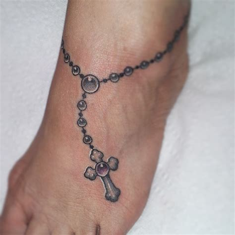 cross tattoo rosary beads attractive grey ink rosary cross tattoo on ankle