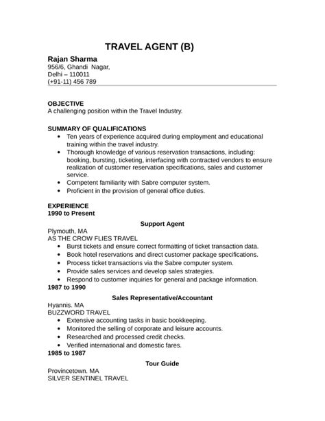 Resume Travel Objective by Basic Travel Resume Template