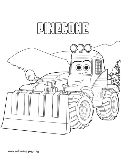 pinecone is a vehicle equipped with a rake tool she is a