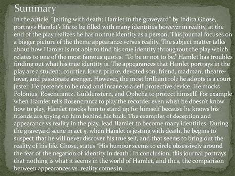 themes of deception in hamlet ppt appearance vs reality and deception in hamlet
