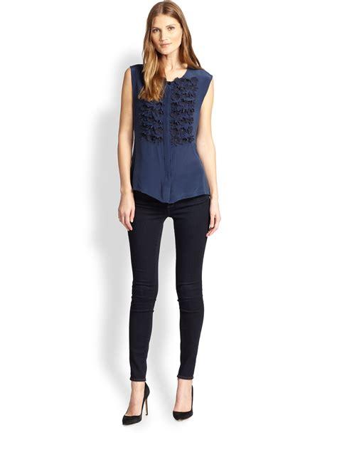 Maxmara Silk Lotus Blue lyst weekend by maxmara silk jersey ermanna embellished blouse in blue