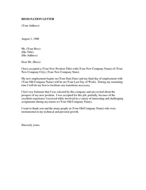 resignation letter format top resignation letter to employer sle august resignation
