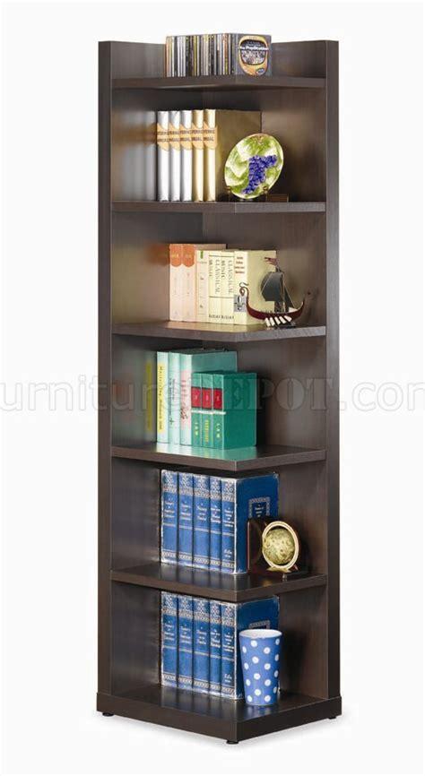 Modern Corner Bookcase Cappuccino Finish Modern Corner Bookcase W Six Shelves